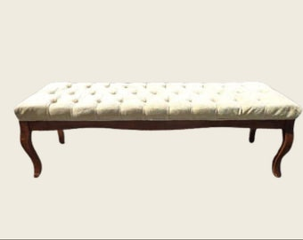 Bench Bed Vintage Vanity Wood Seating Tufted Hollywood Glam Regency French Provincial Seating Bedroom Upholstered Boudoir Chair Chic Dining