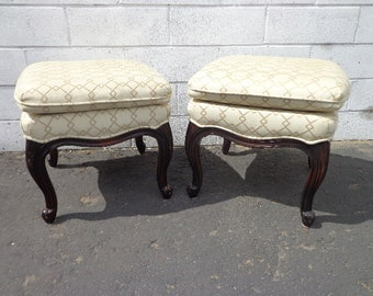2 Stools Bench Bed Pair of Ottoman Wood Base Benches French Provincial Seating Ottomans Chair Hassock Footstool Boho Hollywood Regency Chic