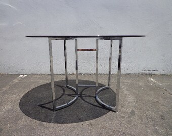 Mid Century Modern Dining Set Table Dinette Kitchen Danish Chrome Metal Milo Baughman Style Armchair MCM Retro Vintage Furniture