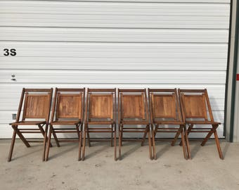 Folding Chairs Set Vintage Antique DFW Waiting Room Theater Stadium Seats Row Wood Rustic Farmhouse Primitive Seating Chair Bench Country