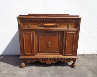 Antique Wood Buffet Cabinet Victorian French Sideboard Hutch Wood TV Media Console France Country Storage Server Table CUSTOM Paint Avail