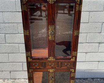 Antique Korean China Cabinet Asian Pagoda Chinoiserie Boho Chic Ming Chest Etagere Display Case Console Storage Glass Brass Bookcase Shelves