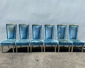 6 Chairs Fabulous Vintage Hollywood Regency High Wing Back Head of Table Custom Wingback Seating Accent Lounge Captains Seat Furniture