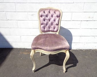 Vanity Chair French Provincial Boudoir Seating Bedroom Purple Glam Shabby Chic Victorian Button Tufted Tufting Carved Regency Bench Seat