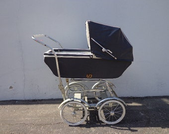 Antique Baby Stroller Vintage Carriage Stroller Buggy Movie Prop Victorian Canopy Cover Navy Blue Chrome Wheels Baby Pram Royale Wonda