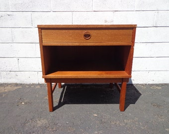 Mid Century DUX Teak Nightstand  Mid Century Danish Modern Furniture Bedside Table Cabinet Credenza Storage Media Vintage Eames MCM