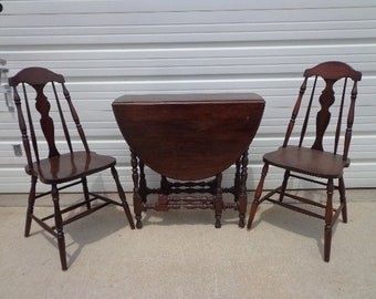 3pc Antique Dining Set Folding Wood Table 2 Chairs Drop Leaf Hideaway Seating Traditional Vintage Country Farmhouse Arts and Crafts