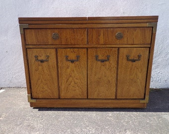 Campaign Dry Bar Chest Vintage Buffet Server Campaign Dresser Storage Thomasville Chinoiserie Chippendale Brass Server CUSTOM PAINT Avail