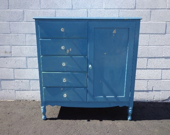 Antique Armoire Closet Dresser Chest Drawers Shabby Chic Traditional Nursery Kids Child Room Console Bedroom Set Storage CUSTOM PAINT AVAIL