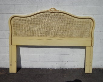 French Provincial Headboard Antique Queen Bed Size Cane Vintage Hollywood Glam Regency Boudoir Ornate Wood Bedroom Furniture France