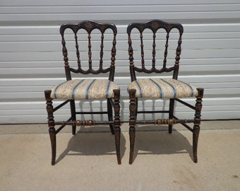2 Antique Chiavari Chairs Italian Pair of Chairs Regency Dining Chairs Chinoiserie Dining Wood Chair Seating Coastal Chic Set Hand Painted