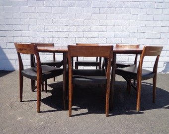 7pc Danish Modern Niels Koefoed Dining Set Mid Century Table Chairs Rosewood Wood Drop Leaf Gate Leg Denmark Koefoeds Møbelfabrik Kitchen
