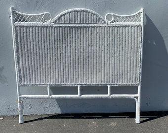 Vintage Woven White Wicker Rattan Full Headboards Peacock Sunshine Headboard Twin Bed Beachy Wicker Chinoiserie Boho Bohemian Eclectic MCM