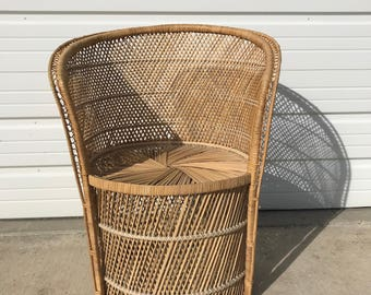 Vintage Rattan Chair Boho Chic Peacock Chair Fan Regency Armchair  Chippendale Chinoiserie Bamboo Miami Chair Mid Century Bentwood Wicker