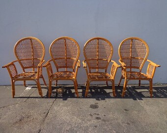 4 Rattan Chairs Chinoiserie Chinese Chippendale Vintage Bohemian Boho Chic Beach Armchair Cane Bentwood Faux Bamboo Furniture Accent Seating