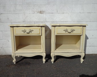 2 Nightstands French Provincial Pair of Tables Bedside Vintage Gold Glam Shabby Chic Bedroom Storage Hollywood Regency CUSTOM PAINT AVAIL