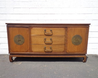 Asian Chinoiserie Sideboard Console Vintage Century Furniture Cabinet Chest Console Brass Table Chinese Carved Wood Boho CUSTOM PAINT AVAIL