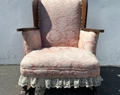 Antique Rocking Chair Rocker Armchair Victorian Seating Pink Rattan Shabby Chic Coastal Country French midcentury chair Nursery