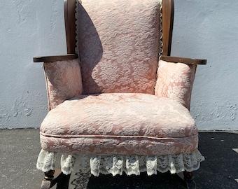 Antique Rocking Chair Rocker Armchair Victorian Seating Pink Cushion Shabby Chic Coastal Country French Nursery Children Kid Child Furniture