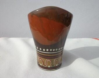 Mid Century Vase Pottery Ceramic Catch All Decor Bohemian Boho Chic Jewelry Dish Ceramic Modern Decor Mod Vintage Retro Serving Colorful