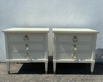 Pair of Nightstands Set Bedside Tables Side Accent Stand Shabby Chic Regency French Provincial Buffet Bedroom Storage CUSTOM PAINT Avail