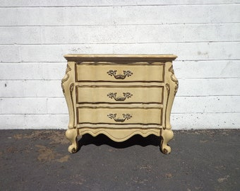 French Provincial Nightstand Bedside Table Bombe Gold Bachelor Chest Neoclassical Furniture Console Bedroom Shabby Chic CUSTOM PAINT AVAIL