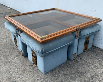 Coffee Table Bench Cocktail Stools Zagaroli for Schafer Leather Campaign Chinoiserie Asian Boho Chic Hollywood Regency CUSTOM PAINT AVAIL