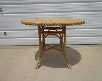 Antique Rattan Wicker Table Round Dining Primitive Rustic Furniture Woven Bohemian Boho Chic Decor Coastal Tropical Faux Bamboo Kitchen