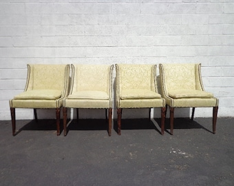 4 Chairs Set Dining Chair Seating Fabric Vintage Floral Regency Country French Provincial Regency Shabby Chic Walnut Lounge Coastal Cottage