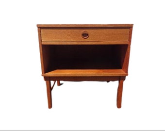 Mid Century DUX Teak Nightstand  Mid Century Danish Modern Furniture Bedside Table Cabinet Credenza Storage Media Vintage Eames MCM