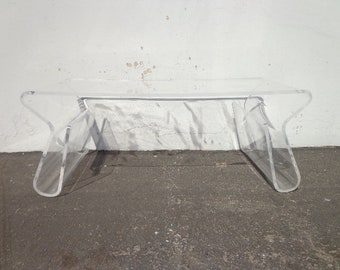 Lucite Coffee Table Waterfall Mid Century Modern Accent Side End Bedside Table Vintage Nightstand Clear Acrylic Hollywood Regency Style
