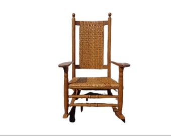 Antique Rocking Chair Rocker Armchair Woven Rush Mission Rustic Traditional Shabby Chic Country French Glider Wood Nursery Room Furniture