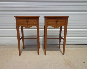 Antique Nightstands Pair of Bedside Tables Wood Vintage Regency Bedroom Furniture Shabby Chic Storage Country French Provincial Victorian