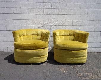 2 Swivel Chairs Platform Tufted Armchair Tub Barrel Back Mid Century Modern Milo Baughman Style Armchair Regency Vintage Seating Bohemian