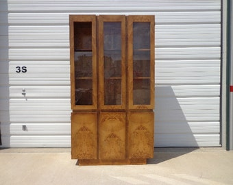 China Cabinet Mid Century Modern  Display Bookcase Bookshelf Danish Inspired Hollywood Regency Modern Vintage Retro Burl Wood Baughman Style