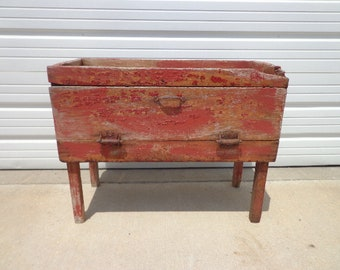 Antique Cabinet Vintage Storage Rustic Primitive Shabby Chic Coffee Table Chest Blanket Bed Bench Wood Boho Cottage Coastal Chippy Paint
