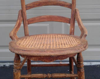 Chair Vintage Country French Cane Mid Century Antique Lounge Club Regency Shabby Chic Seating Accent Cottage France Victorian Provincial