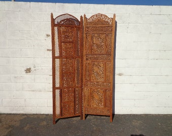 Moroccan Style Privacy Screen Antique Panel Headboard Bed Rustic Primitive Bohemian Boho Chic Style Furniture Carved Wood Decorative Accent