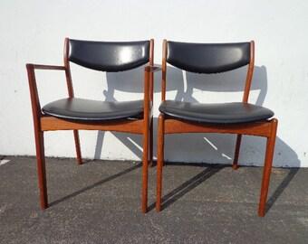 2 Chairs Danish Modern Erik Buch Mid Century Denmark Eames Teak Seating Dining Chairs Midcentury Teak Chair Wood Fabric Seat Vintage Set