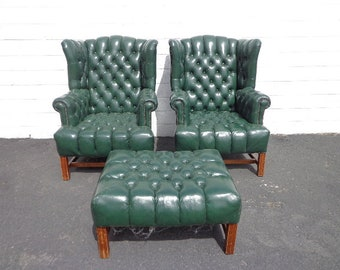 3pc Handsome Deep Tufted Leather Wingback Armchairs Chair Seating Vintage Chesterfield Chippendale Lounge Mid Century Modern English Wing