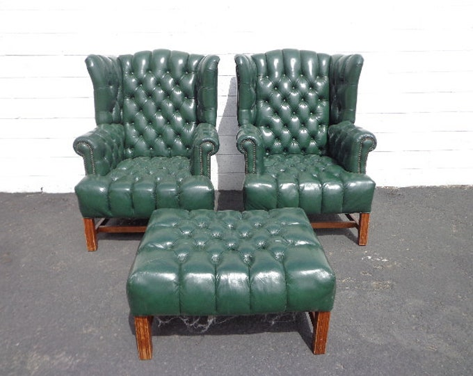 Featured listing image: 3pc Handsome Deep Tufted Leather Wingback Armchairs Chair Seating Vintage Chesterfield Chippendale Lounge Mid Century Modern English Wing