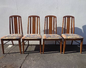 Set of Dining Chairs Mid Century Modern Danish Inspired Kitchen Seating Hollywood Regency Inspired Vintage Retro Style Teak Wood Modernism