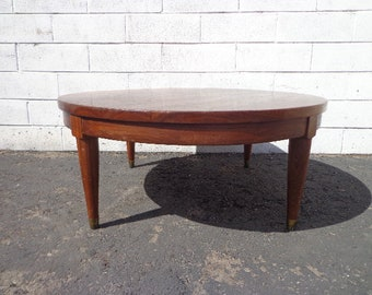 Traditional Wood Coffee Table Round Circle Mid Century Vintage Antique Accent Cocktail Wood Hollywood Regency Minimalist CUSTOM PAINT AVAIL