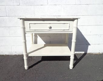 Faux Bamboo Nightstand Vintage Thomasville Allegro Bedside Table Accent End Side Chippendale Beachy Chinoiserie Boho Chic CUSTOM PAINT AVAIL