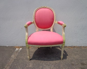 Armchair Vintage French Bergere Chair Lounge Club Hollywood Regency Shabby Chic Seating Cottage Chic France Decor Wood Neoclassical Pink