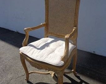 Vintage Country French Cane Bergere Armchair Lounge Chair Club Regency Shabby Chic Seating Mid Century Cottage France Victorian Provincial