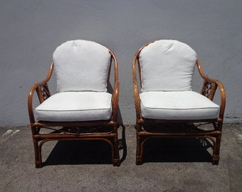 2 Rattan Chairs Armchairs Chinoiserie Chinese Chippendale Vintage Bohemian Boho Beach Cane Bentwood Faux Bamboo Furniture Accent Seating