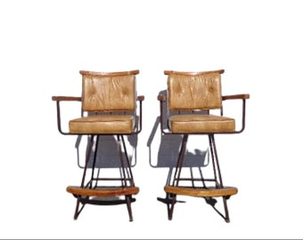 Bar Stools Set Armchair Wood Metal Swivel Bohemian Boho Chic Pair Dining Chair Vintage Seating Mid Century Modern Vintage Furniture Bamboo