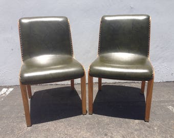 Pair of Chairs Knoll Mid Century Modern Dining Desk Accent Seating Set Modernism Wood Dining Minimalist Vintage Retro Green Eames Vintage