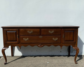 Antique Buffet Cabinet Traditional Wood Console Sideboard Tv Stand Server Storage Queen Anne Vintage Entry Table Carved CUSTOM PAINT AVAIL